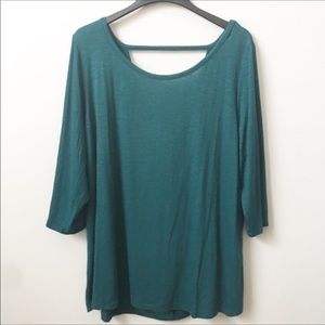 Lane Bryant Teal Slouchy Back Top with 3/4 Sleeves